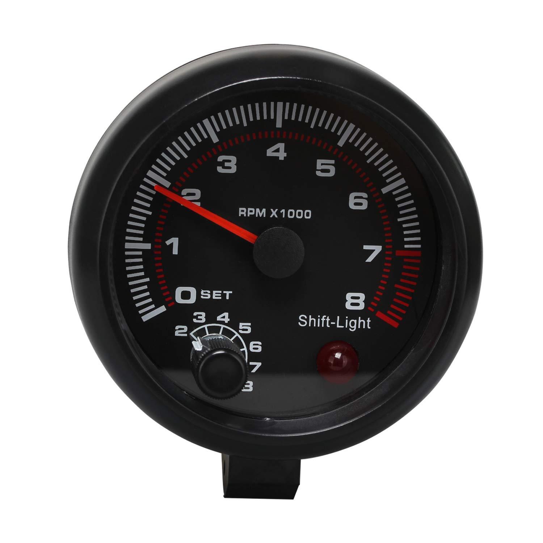 Timorn Tachometer RPM Gauge, Tachometer Gauge RPM Tachometer RPM Light Backlit Tach Gauge 8k Tachometer for 4 6 8 Cylinder Tachometer with Adjustable Shift Light by Timorn