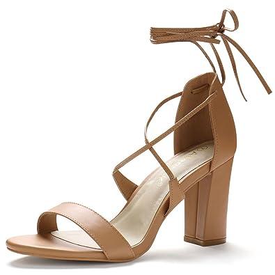 298068de9e2e Allegra K Women Open Toe Ankle Strap Lace up Chunky High Heels Brown Sandals  - 7.5