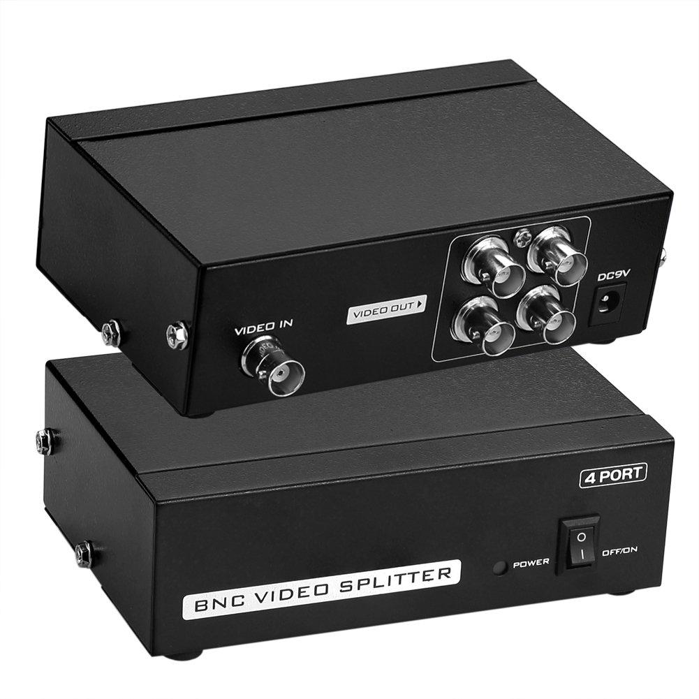 Sienoc 4 Puerto BNC Coax Composite Video Splitter Amplificador de distribució n CCTV DVR OC-1238E