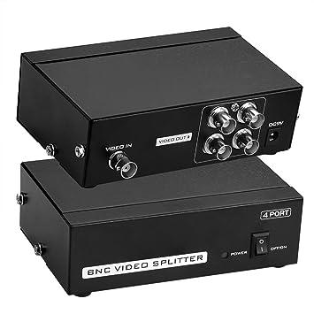 Sienoc 4 Puerto BNC Coax Composite Video Splitter Amplificador de distribución CCTV DVR