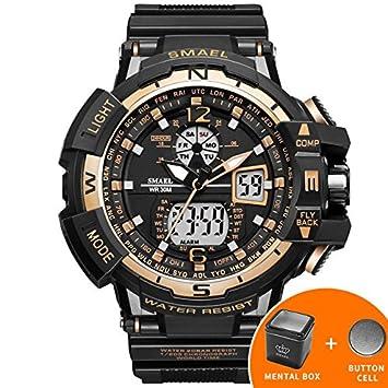 Oro deporte hombres relojes golpes marca reloj Relogio Masculino hombre Reloj de pulsera cuarzo digital smael LED relojes hombre: Amazon.es: Electrónica