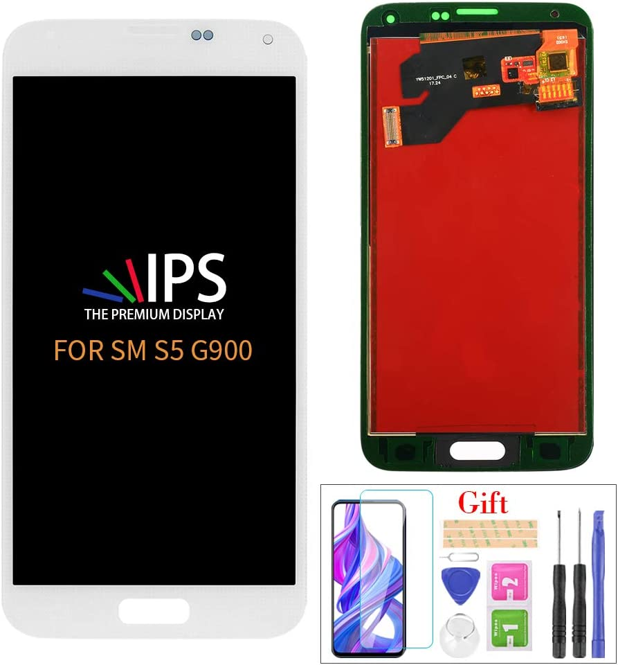 A-MIND for Samsung Galaxy S5 G900 LCD Screen Replacement,for S5 G900M G900A G900T G900FD Display LCD Panel Repair Parts Kit,with Tempered Glass+Tools + White