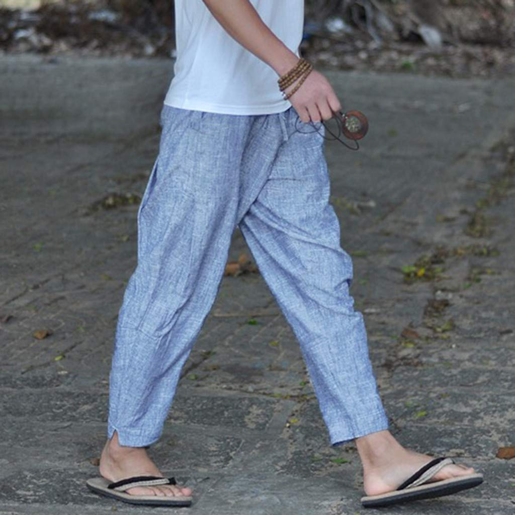 SKYLULU/♣/♣Mens Summer Simple and Fashionable Pure Cotton and Linen Trousers