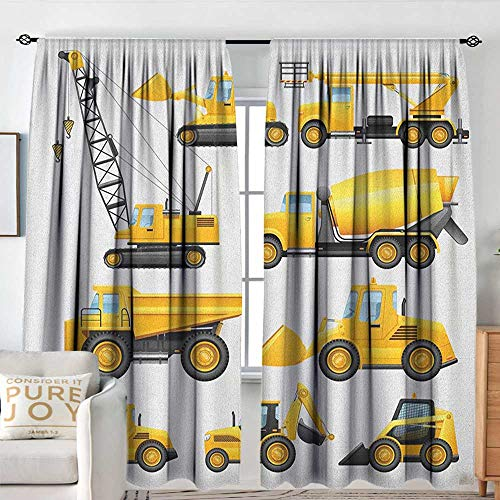 - Petpany Blackout Valances for Girls Bedroom Boys,Abstract Images of Construction Vehicles and Machinery Trucks Bulldozer Crane, Earth Yellow Black,Rod Pocket Curtains for Big Windows 120