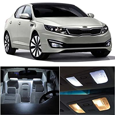 cciyu 10 Pack White LED Bulb Replacement fit for 2011-2016 KIA Optima LED Interior Lights Accessories Replacement Package Kit: Automotive [5Bkhe0405348]