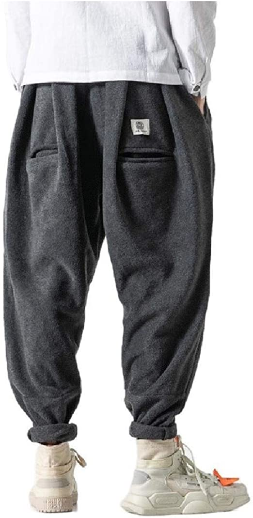 AngelSpace Men's Solid-Colored Harem Hip Hop Big & Tall Tapered Wide Leg Pants