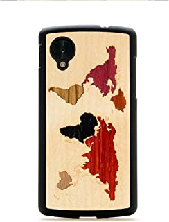 product image for CARVED Matte Black Wood Case for Google Nexus 5 - World Map Inlay (N5-BC1-WORLD)