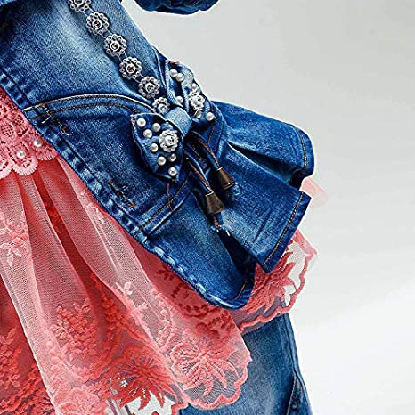 Peacolate Spring Autumn Baby Girls Clothing Set 3pcs Long Sleeve T-Shirt Denim Jacket and Jeans