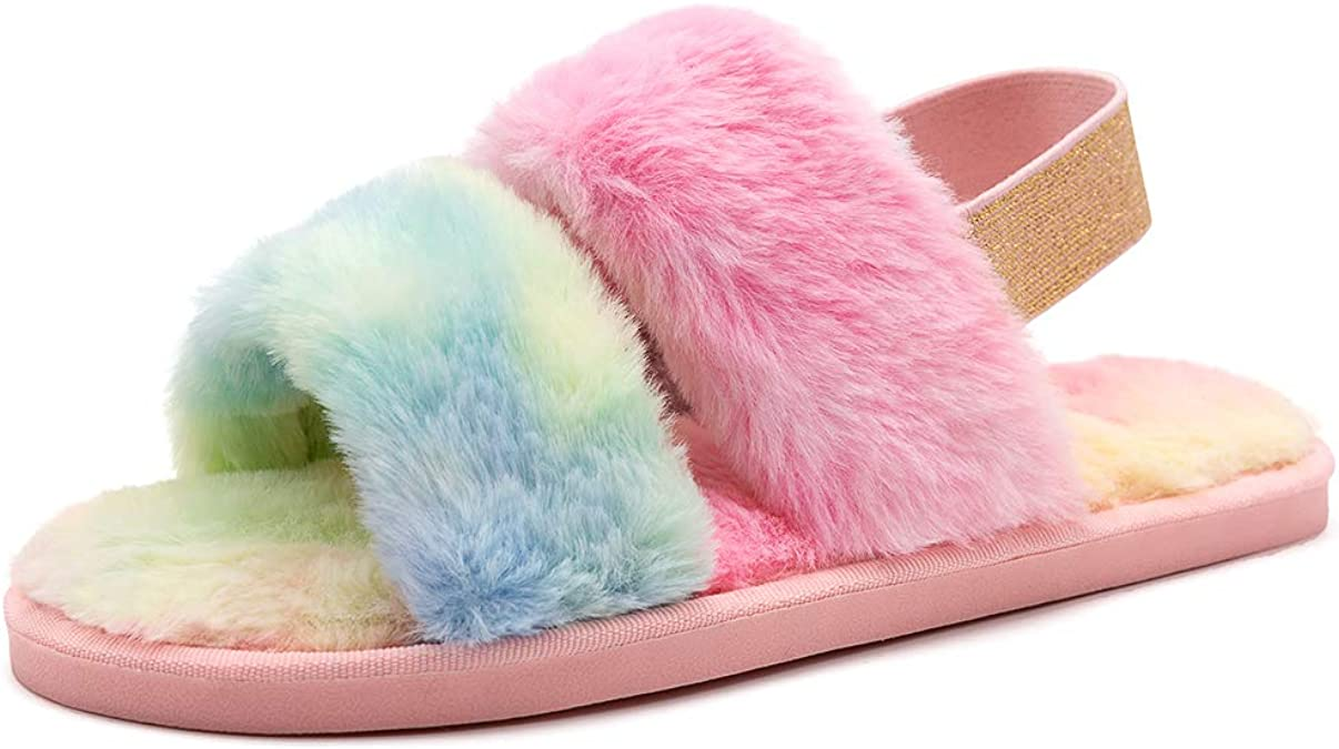 Womens House Fuzzy Slipper Fluffy Sandals Leopard Print Soft Warm Comfy Open Toe Cozy Bedroom House Indoor Outdoor Slippers Sandals with Elastic Strap