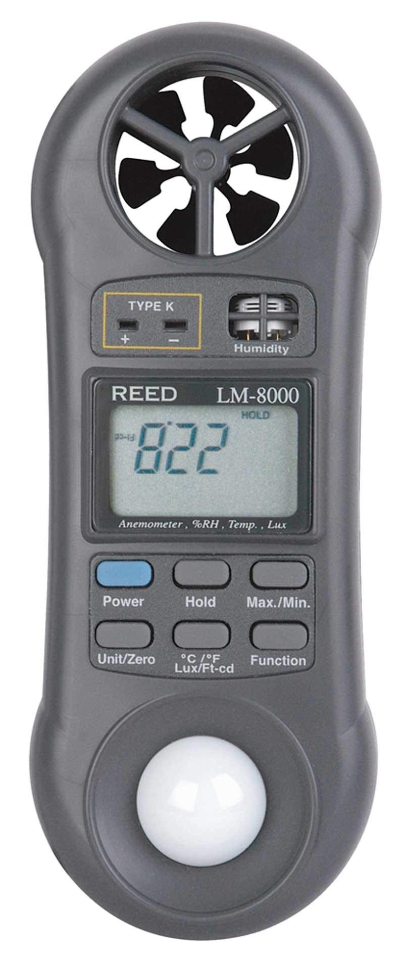 REED Instruments LM-8000 6-in-1 Multi-Function Environmental Meter (Air velocity/temperature, Ambient Temperature, Humidity, Contact Temperature and Light) by REED Instruments