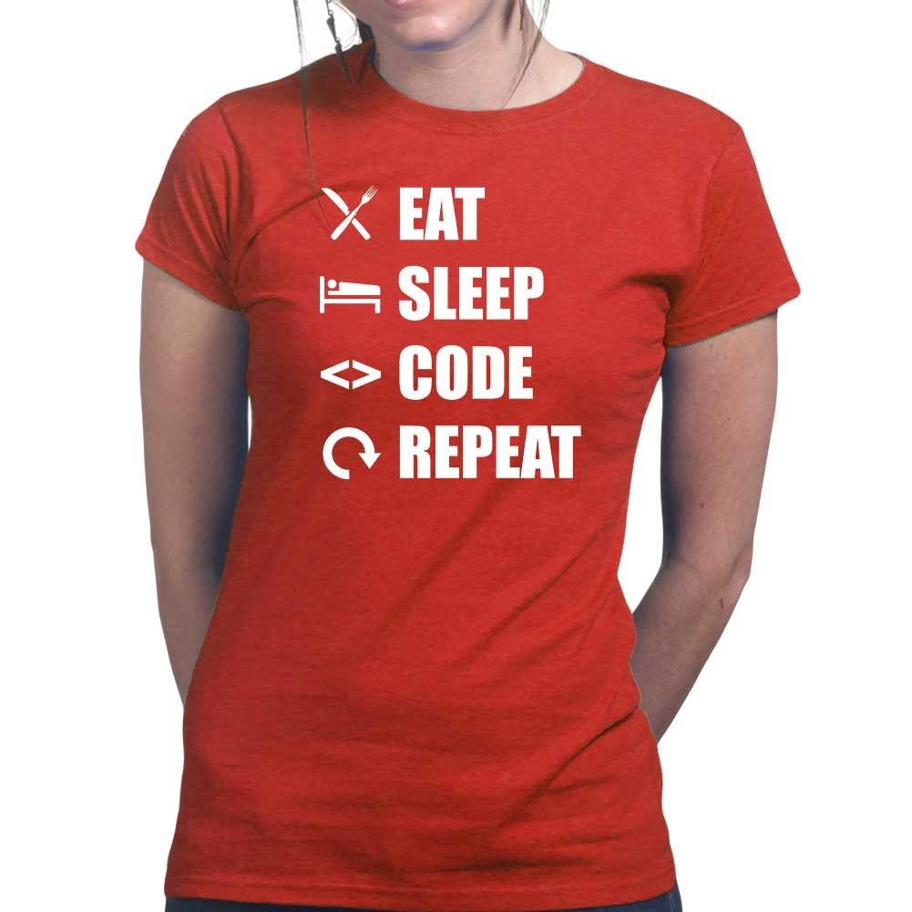 Amazon.com: Customised_Perfection Womens Eat Sleep Code Repeat Coding  Programming Ladies T Shirt (Tee, Top): Clothing