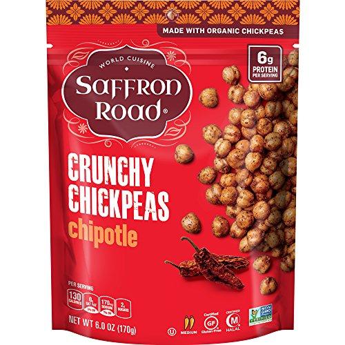 World Peas - Saffron Road Organic Crunchy Chickpeas, Non-GMO, Gluten-Free, Halal, Chipotle, 6 Ounce
