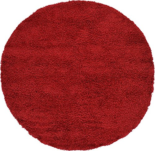 Unique Loom Solid Shag Collection Cherry Red 6 ft Round Area Rug (6' x 6') (Rounds Rugs)