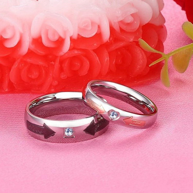 Amazon.com: GINBL 6mm Men Titanium Love You Couple Wedding Rings ...