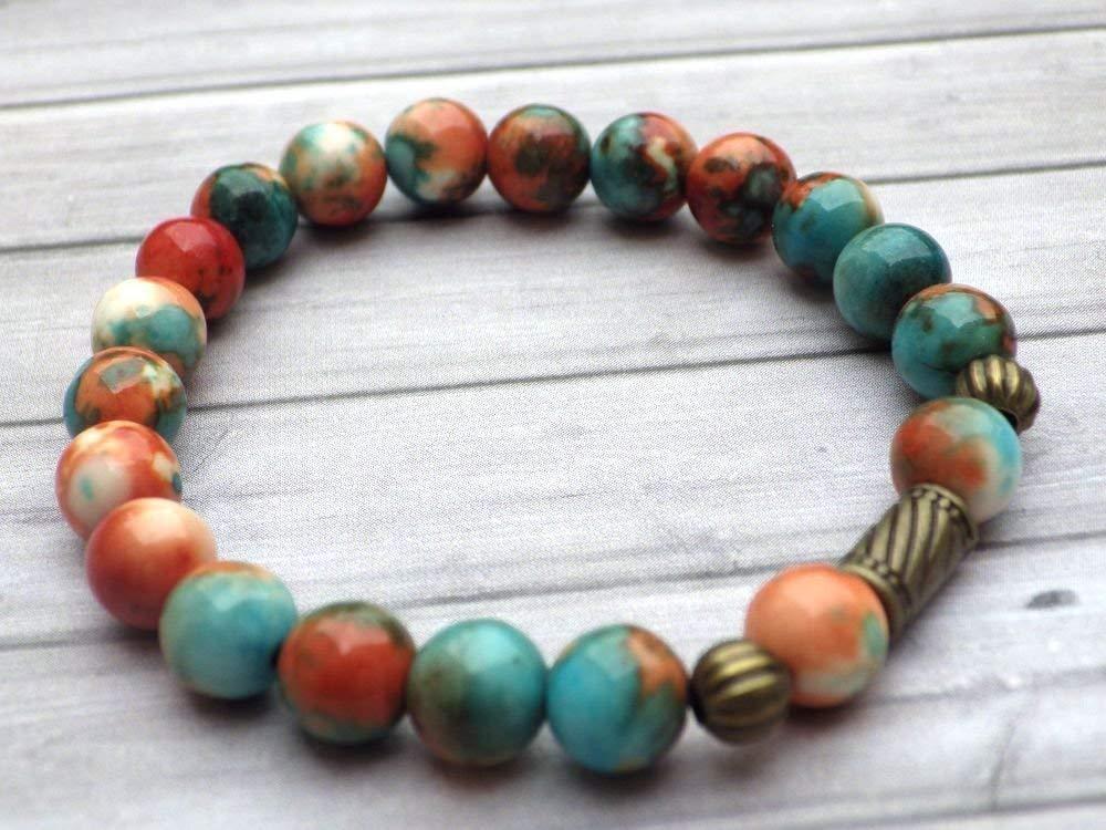 pulsera de perlas vintage estilo tibetano jade blanco natural, teñida de color marrón, naranja y azul, perlas de bronce antigua