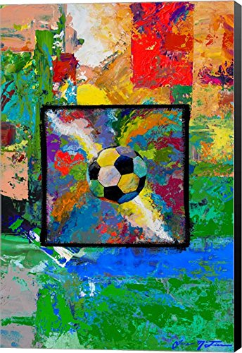 Window into the Soccer Universe- Red and Green Football by Jace D. McTier Canvas Art Wall Picture, Museum Wrapped with Black Sides, 19 x 28 inches by Great Art Now