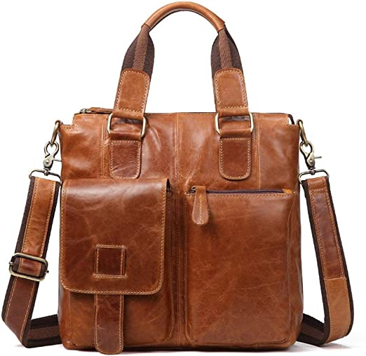 Mens Leather Business Briefcase Mens Crossbody Casual Tote Color : Brown Messenger bag