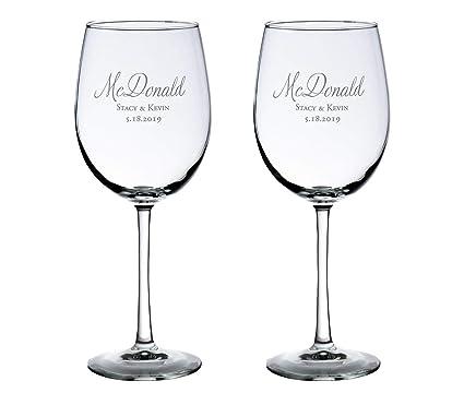 aee29b7c103 Amazon.com | Lillian Rose Set of 2 Personalized Wine Glasses Wedding ...