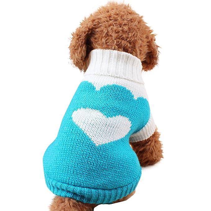 Ropa Perro Pequeño Invierno Cuello Alto Jersey para Pomerania Chihuahua Yorkshire Mascota - Patrón de corazón Fresa: Amazon.es: Ropa y accesorios