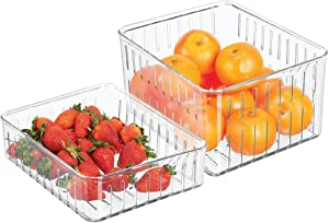mDesign Plastic Kitchen Refrigerator Produce Storage Organizer Bin with Open Vents for Air Circulation - Food Container for Fruit, Vegetables, Lettuce, Cheese, Fresh Herbs, Snacks - Set of 2 - Clear