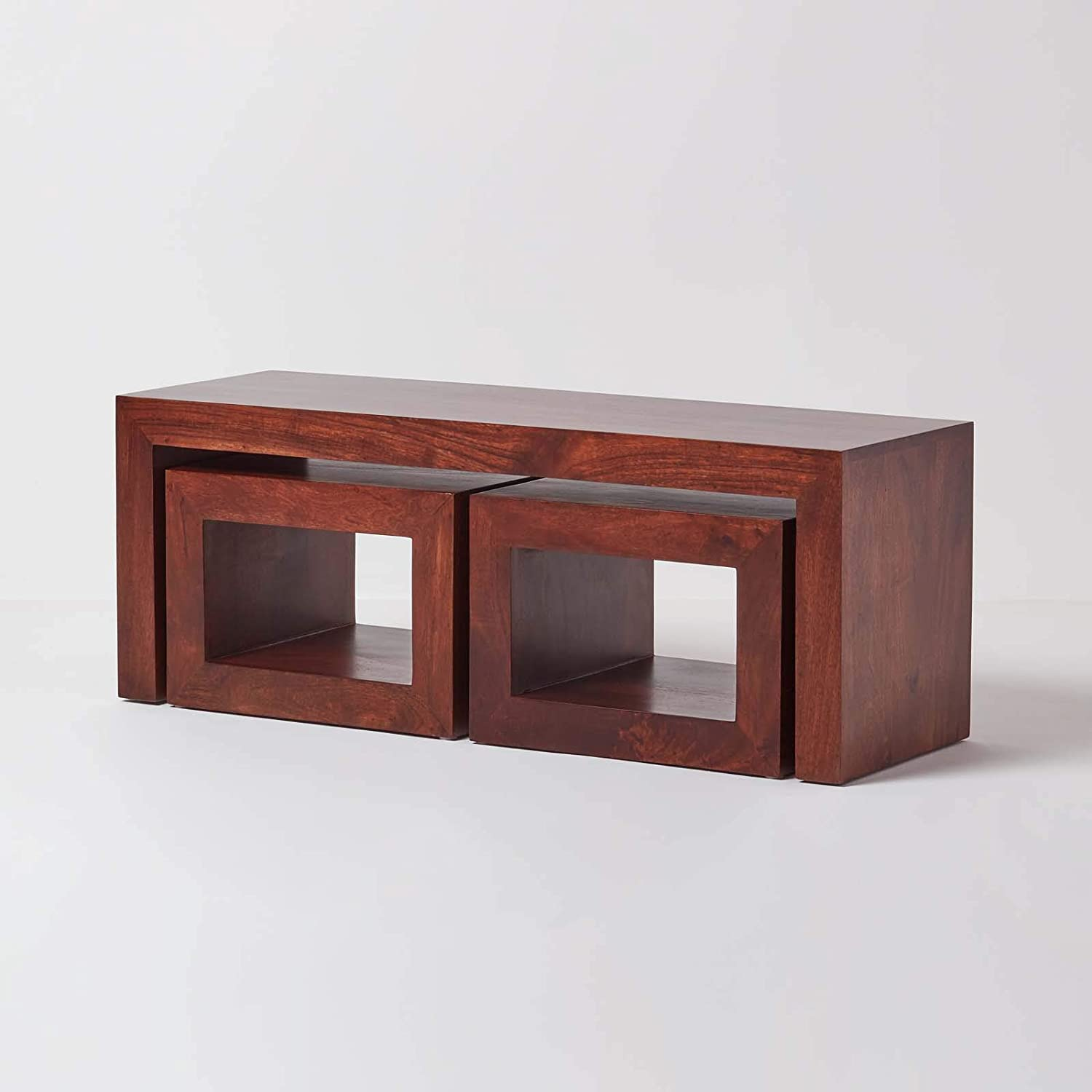 Homescapes Dark Wood Long Coffee Table With 2 Nesting Side Tables Long John Livign Room Table Handcrafted From Solid Mango Hardwood