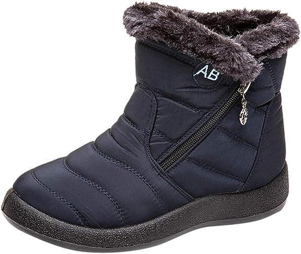 Warm Stiefeletten Winterschuhe Damen Schneestiefel Schnür Boots Schlupfstiefel