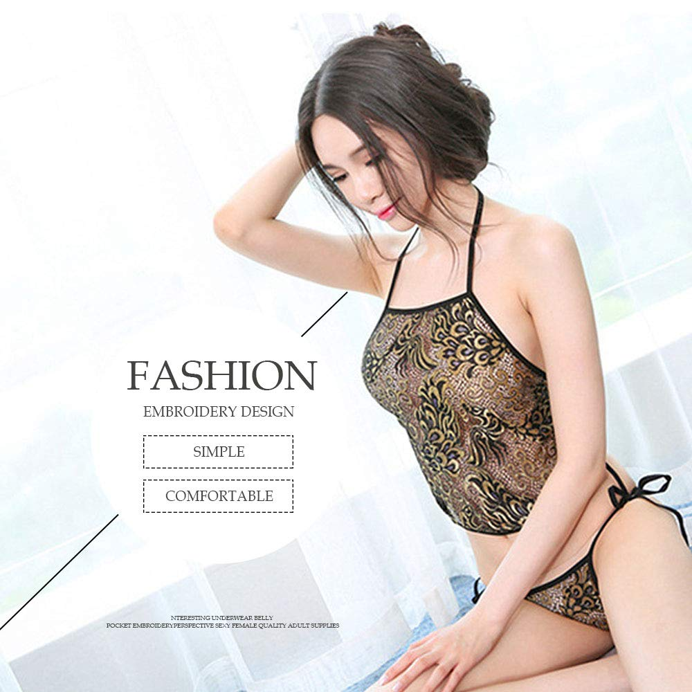 979360f7d Amazon.com: YOMORIO Sexy Chinese Peacock Embroidery Bellyband Cheongsam  Lingerie Temptation Dudou Babydoll (Black): Clothing