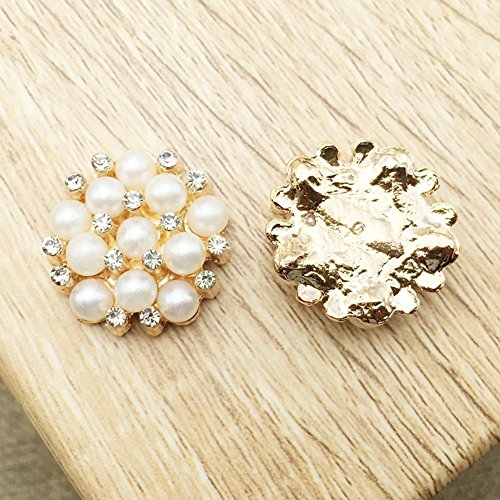 DierCosy 10Pcs Gold Color Rhinestone Faux Pearl Flower Embellishments Button Flatback for DIY Crafts 22MM