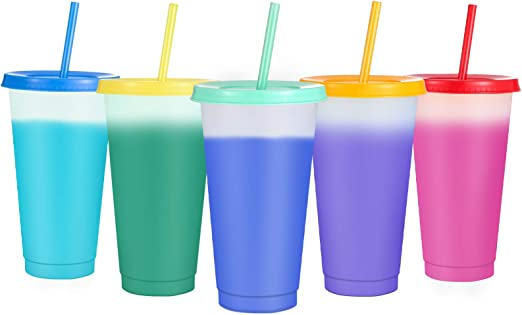 Sursip Color Changing Cups - 5 pack 24oz Reusable Tumbler with Lids and Straws BPA Free Magic Colored Tumbler