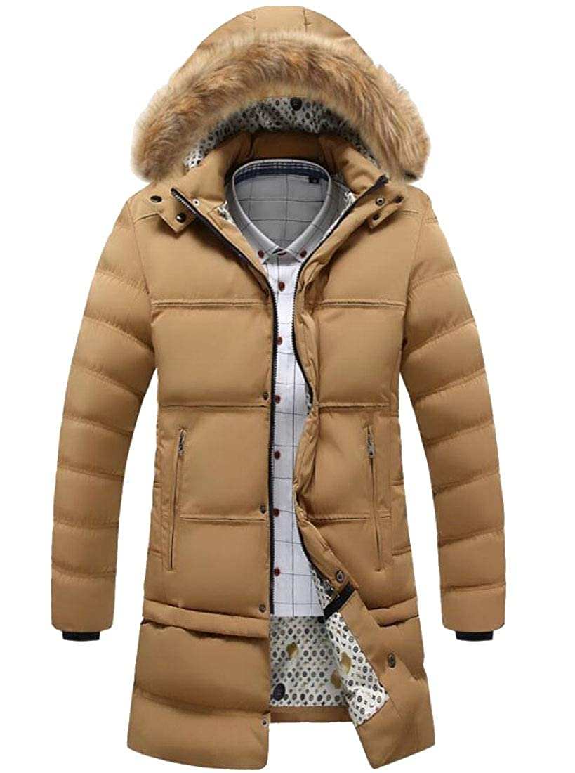 XQS Mens Mid Long Fur Hooded Thick Trench Coat Outwear Jackets