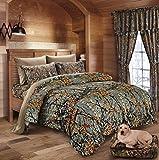 20 Lakes Hunter Camo Comforter, Sheet, Pillowcase Set (Queen, Gray/Forest)