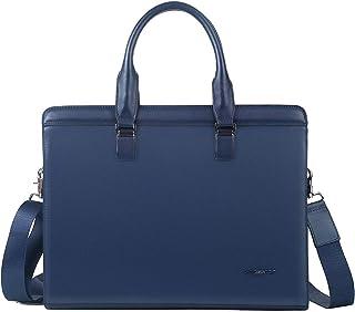Leathario Damen Herren Ledertasche Umhängetasche Aktentasche Laptoptasche Arbeitstasche Businesstasche Messenger Bag (Blau)
