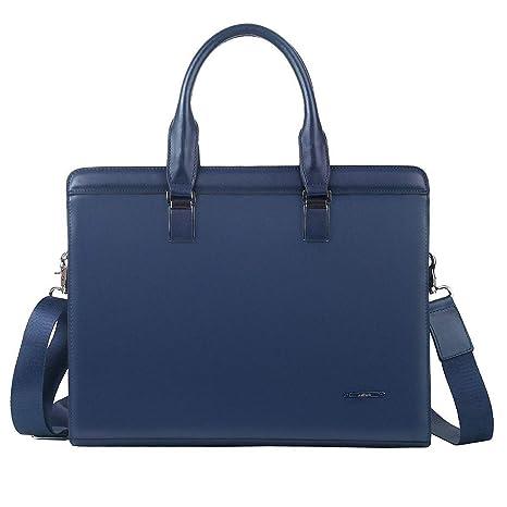 6e78391c55996 Leathario Damen Herren Ledertasche Umhängetasche Aktentasche Laptoptasche  Arbeitstasche Businesstasche Messenger Bag (Blau)