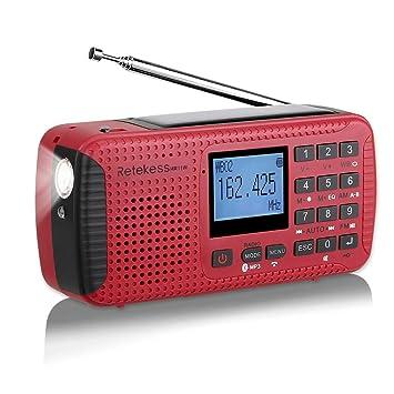 Retekess HR11W Radio Camping Solar Emergencia Manivela Dinamo Am FM Radio Portatil Pequena con Reloj Despertador Reproductor de MP3 Inalámbrico Linterna ...