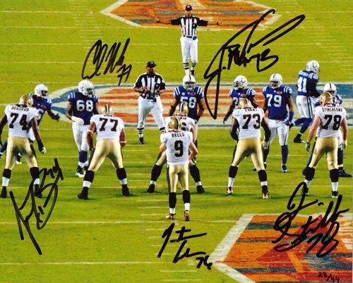 Bushrod, Evans, Goodwin, Nicks, & Stinchcomb Autographed/Signed New Orleans Saints Super Bowl 8x10 Limited Edition -