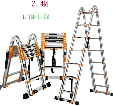 GTRR Escalera Telescópica Escaleras Aleación De Aluminio Espesar Escalera Plegable Casa Ascensor Multifunción Ensanchamiento 78mm Antideslizante Pedal Anti-caída (Size : 3.4M): Amazon.es: Hogar