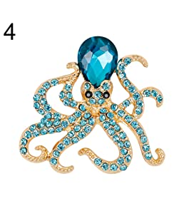 HBINY Hbinydepial Women Rhinestones Octopus Brooch Pins Badge Coat Dress Decor Jewelry Fashion Blue