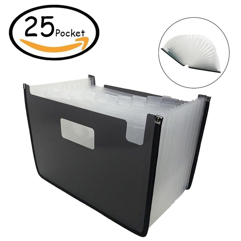 Oak-Pine 25 Pocket Expanding File Folder - Large Plastic Multi-Color Expandable File Organizer Self Standing Accordion A4 Document Folder Wallet Briefcase Business Filing Box (Black)