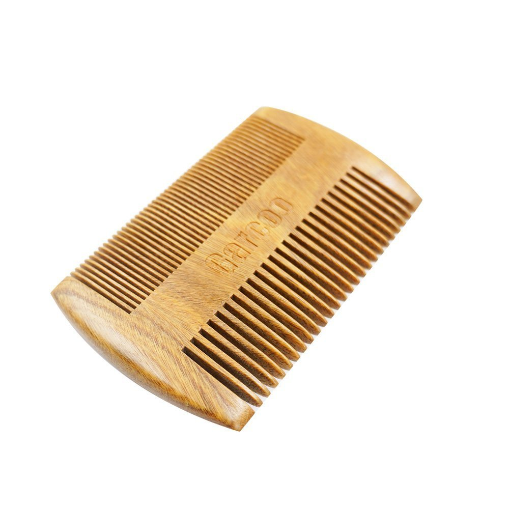 Garcoo Green Sandalwood Pocket Beard Comb | Anti-Static Natural Aroma | Handmade Premium Comb for Beard & Moustache Grooming | Fine and Coarse Tooth Pocket Size Hair - Beard Brush GC1047