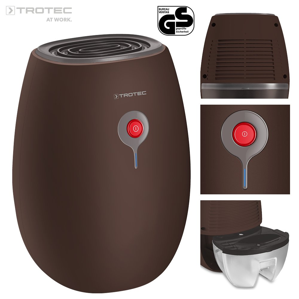 TROTEC Deshumidificador de Peltier TTP 1 E deshumidificador purificador de aire eléctrica deshumidificador compacto para casa, oficina, armarios, tarro cámaras con 500 ml Reservorio de ag