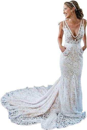 Beach Bohemian Mermaid White//Ivory Lace Wedding Dresses Short Sleeve Bridal Gown