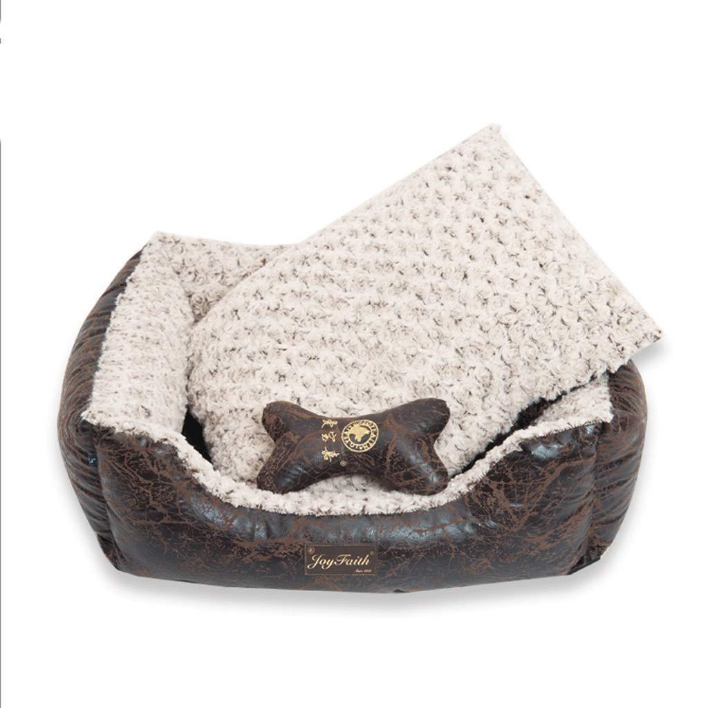 Retro black Xl Retro black Xl ZLJ Pet Nest Retro PU Leather Pet Pad Detachable Wash Pet Supplies Teddy golden Retriever Pet House (color   Retro black, Size   Xl)