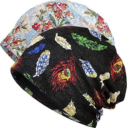 1e2f20bcd5158 Womens Cotton Beanie Lace Turban Soft Sleep Cap Chemo Hats Fashion Slouchy  Hat