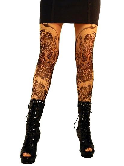 b20b6dac1750f Wild Rose 102 Ladies Tattoo Illusion Print Mesh Leggings Footless Tights  with black stretch lace hipband, Dragon, Tan, Medium: Amazon.co.uk: Clothing
