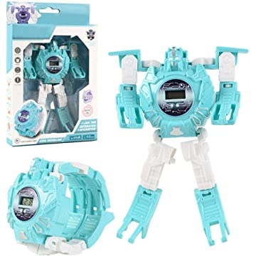 Kaimu Children Creative Manual Transformation Robot Toys Electronic Deformation Watch Darts