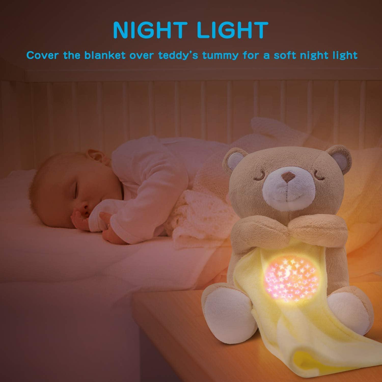 APUNOL Veilleuse B/éb/é Musicale et Lumineuse Peluche Projecteur pour dormir lampe de projection enfants avec 15 Musiques Nouveau Cadeau pour Bebe