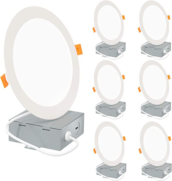 Slim LED Recessed Lighting 6 Inch with Junction Box, 5000K Daylight Canless Downlight, 12W=110W Eqv, Dimmable LED Ceiling Lights, 850LM, ETL Certified, 6 Pack