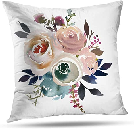 Amazon Com Pakaku Throw Pillow Covers Light Blue Pink Gray White Watercolor Floral Round Bouquet Navy Peach Home Sofa Cushion Cover Pillowcase Gift Double Sided Pattern 18 X 18 Inch Home Kitchen