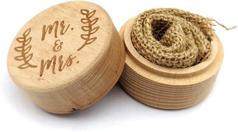 Caja de anillos personalizada para boda, de madera, para beber o como soporte: Amazon.es: Hogar