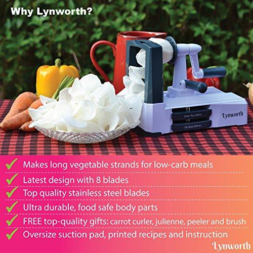 Spiralizer Vegetable Slicer: Lynworth Ultimate 8-Blade: Best Spiral Slicer, Strongest, Heaviest Duty Veggie Pasta Spaghetti Maker for Healthy Low Carb, Paleo, Gluten-Free Meals. Bonus 3 Free Gifts by Lynworth (Image #3)